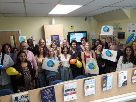 Staff at our Temple Street HQ celebrating WVSC becoming a Living Wage Employer.
